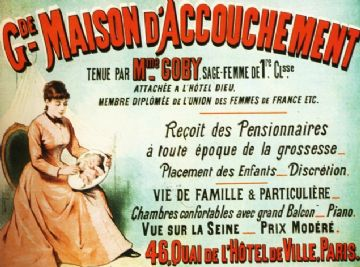 Vintage French advertising poster, Maison d' Accouchement, Birthing Home